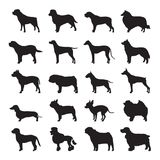 Dog Silhouette Set Vector and Icon. For App and Website Stock Photo