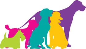Dog Silhouettes Colour Royalty Free Stock Photos
