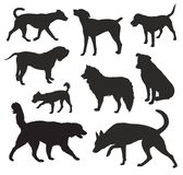 Dog Silhouettes vector Royalty Free Stock Photos