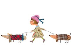 The dog sitter. Colorful fabric and paper quiltting Stock Photos