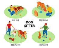 Free Dog Sitter Isometric Set Royalty Free Stock Photography - 183838687