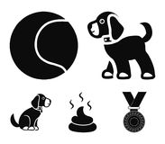 Dog sitting, dog standing, tennis ball, feces. Dog set collection icons in black style vector symbol stock illustration.  Royalty Free Stock Photo