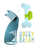 Dog Sitting Dreaming of Bone with Green Ribbon Royalty Free Stock Image