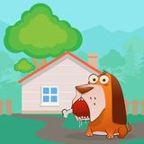 Dog sitting near the house with a ham in his mouth. Dogs stole a ham from the house and looks surprised Stock Photos