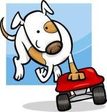 Dog on skateboard cartoon illustration Stock Images