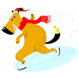 The dog is skating. Christmas and New Year pet character. Vector illustration with dog in seasonal outdoor activity Stock Image