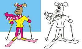 Dog and ski - coloring page, vector icon. Dog goes skiing - coloring pages for kids. Funny illustration. Winter sport. Animal and ski Royalty Free Stock Photos