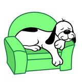 Dog Sleeping on Chair. Cartoon illustration of a happy white dog with black patches sleeping on a living room chesterfield vector illustration