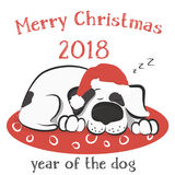 Dog is sleeping on the pillow in the Santa hat. White dog with black spots is sleeping on the pillow in the Santa hat on a white background. Vector illustration Stock Photos