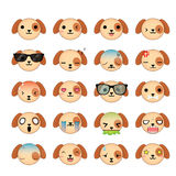 Dog smiley faces icon set. Royalty Free Stock Photo