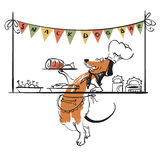 Dog snack bar. Vector illustration with cute doodle dog characte Royalty Free Stock Photos