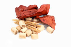 Dog snacks, chewing sticks and beef ears Stock Photo