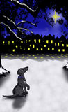 Dog in Snow Looking at Star. Hand drawn dog sitting in snow looking up at star with housing in background royalty free illustration