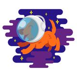 Dog in space. Icon very cute smile orange energy dog in spacesuit astronaut which make a flight in free dark spice between stars cosmic clouds Vector modern Stock Photo