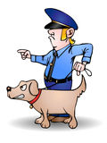 Dog squad. This illustration that I created depicts a policeman and his dog figure from dog squad Stock Photography