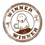 Dog stamp. Grunge rubber stamp with dog and word Winner inside Royalty Free Stock Image