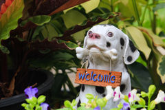 Dog statue welcome Royalty Free Stock Image