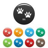 Dog step icons set color vector. Dog step icon. Simple illustration of dog step vector icons set color isolated on white Stock Image