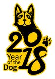 Dog 2018. Sticker 2018 Year of the Dog. Symbol on the Chinese calendar. Vector template of figures and portrait of a dog laconic image in black and yellow color Stock Images