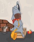 Dog the street musician. Cartoon Royalty Free Stock Photo