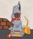 Dog the street musician. Cartoon Stock Photos
