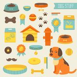 Dog stuff collection,dog toys, dog food, doghouse Royalty Free Stock Images
