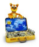 Dog and suitcase Stock Photo