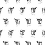 Dog sumi-e pattern. Seamless pattern with Chinees crested dogs, handmade ink painting, on white background. Chinese zodiac background. Textile design vector illustration