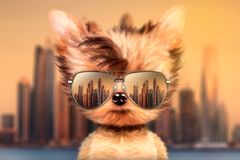 Dog in sunglasses stand in front travel background Royalty Free Stock Photos