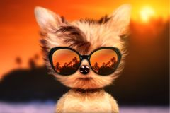 Dog in sunglasses stand in front travel background. Funny adorable dog wearing sunglasses and stand in front travel background. Holiday and vacation concept vector illustration