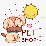 Dog on sunny day cute cartoons. Vector illustration graphic design Stock Photo