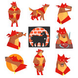 Dog superhero character in action set, dog in different poses with red cape. Vector Illustrations isolated on a white background Stock Photo