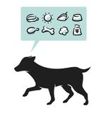 Dog supplies. Dog drawing and supplies icons set Stock Images