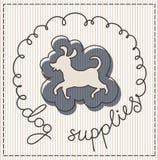 Dog supplies label. Dog supplies calligraphic handwritten label Royalty Free Stock Image