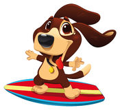 Dog with surf. Funny cartoon and sporty character