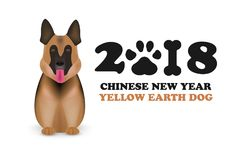 Dog is symbol Chinese zodiac of new 2018 year. Chinese calendar for the new year of Dog 2018. German shepherd dog isolated on whit Stock Photos