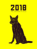 Guard dog German shepherd in polygons style, 2018. Dog is symbol of New 2018 year, according to Chinese calendar Year Of Yellow Earth Dog. Guard dog German Royalty Free Stock Photography