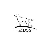 Dog symbol. Pet logo design. Gun dog standing silhouette Royalty Free Stock Images