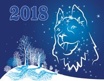Dog symbol of the year 2018 - postcard Royalty Free Stock Image