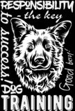 Dog print for t-shirts, embroidery. Embroidery on a black background royalty free illustration