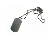 Dog tag. A dog tag is the informal name for the identification tags worn by military personnel, because of their resemblance to actual dog tags Stock Image