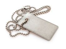 Dog Tag. Shiny Blank Metallic Military Identification Plate on White Background With Shadow Stock Images