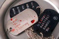 Dog tag/army chains of soldiers of injury Stock Image