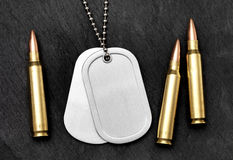 Dog Tag. With bullets with copy space Stock Photo