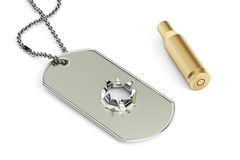 Dog tag with hole from bullet, 3D rendering. War concept Stock Image