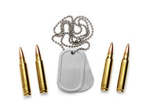 Dog Tag. Isolated Dog Tag with bullets on white Royalty Free Stock Image