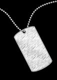 Dog tag sketch. Draw sketch metal soldier dog tag sign Royalty Free Stock Photo