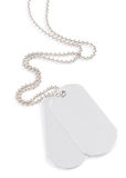 Dog tags. Blank silver-colored tags on white background Royalty Free Stock Photos