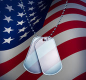 Dog Tags with An American Flag. Dog Tags with a proud American Flag with blank metal and beaded necklace on red white and blue symbol of the American military royalty free illustration