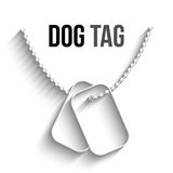Dog Tags with Chain Vector Icon. Dog Tags with Chain icon isolated on white background. Vector Dog Tag silhouette. Dog Tag Soldier ID Stock Photos